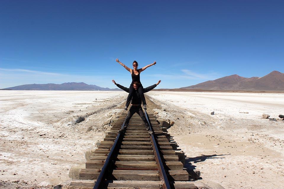 salar, chiguana, bolivie, train