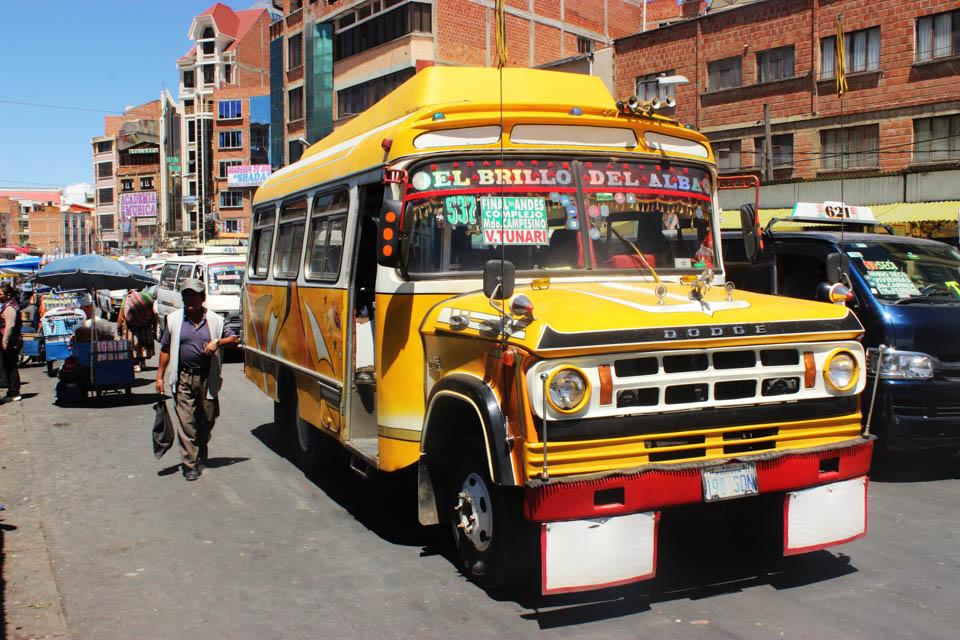 La paz, bus, bolivie, city