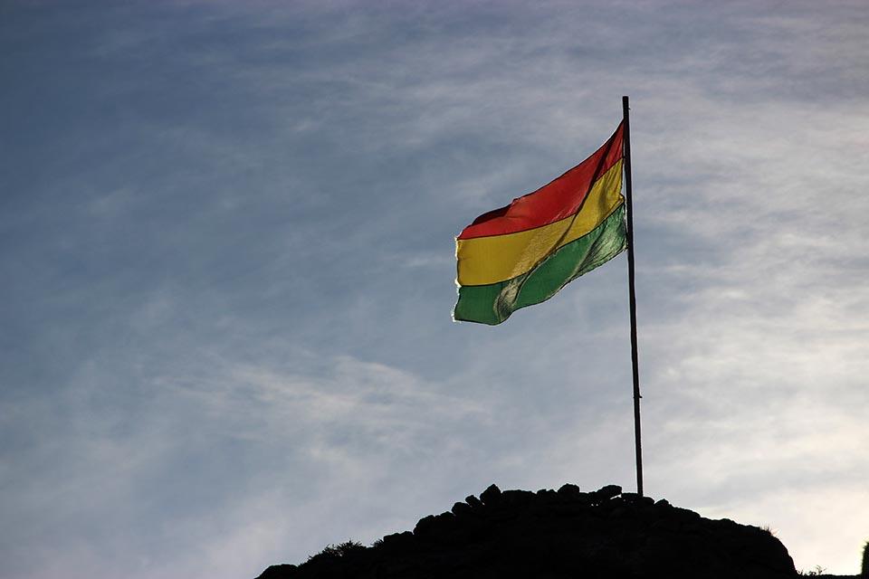 salar, ile, drapeau,bolivia