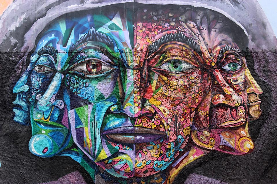 street art, valparaiso, chili, dame