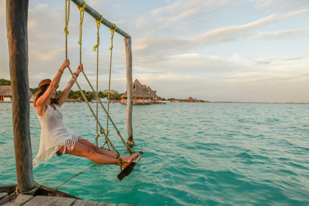 Mexique-Bacalar-Yucatan-Balançoire-Lagune