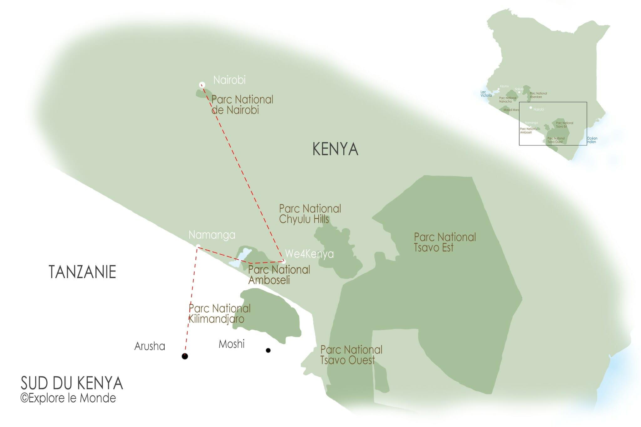 Carte pour un itinéraire de 3 jours dans le sud du Kenya