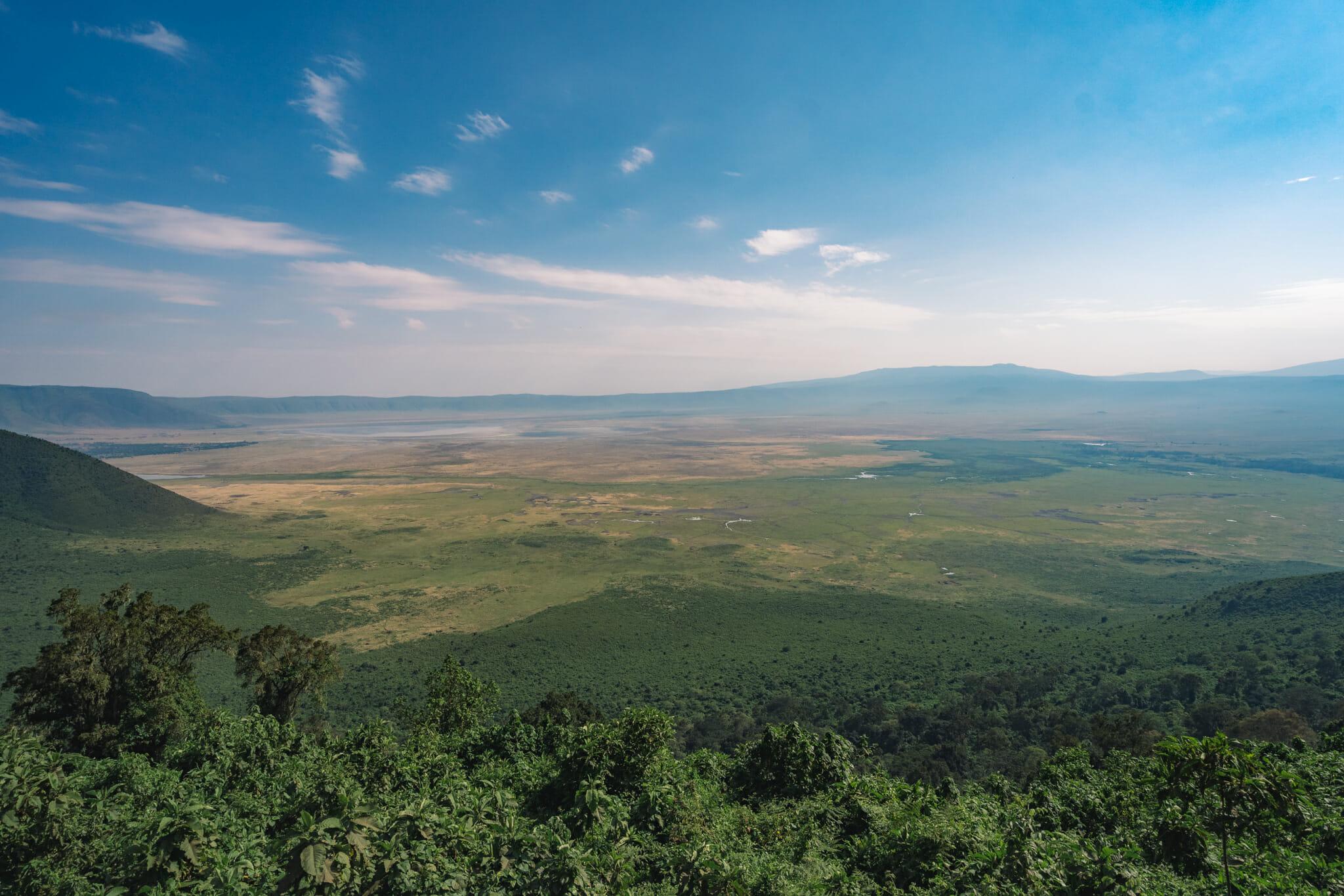 Vue sur le cratère du Ngorongoro en Tanzanie