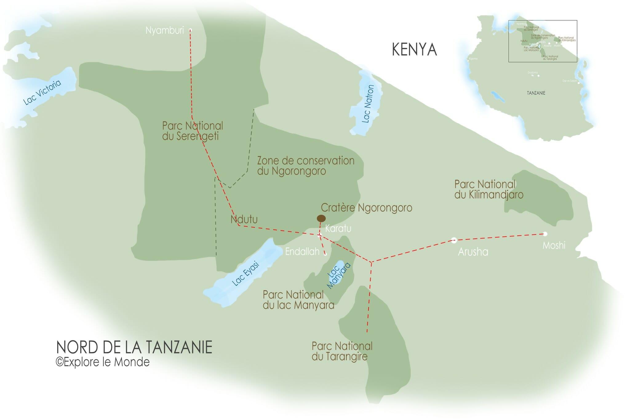 Carte pour une itinéraire de 2 semaines dans le nord de la Tanzanie