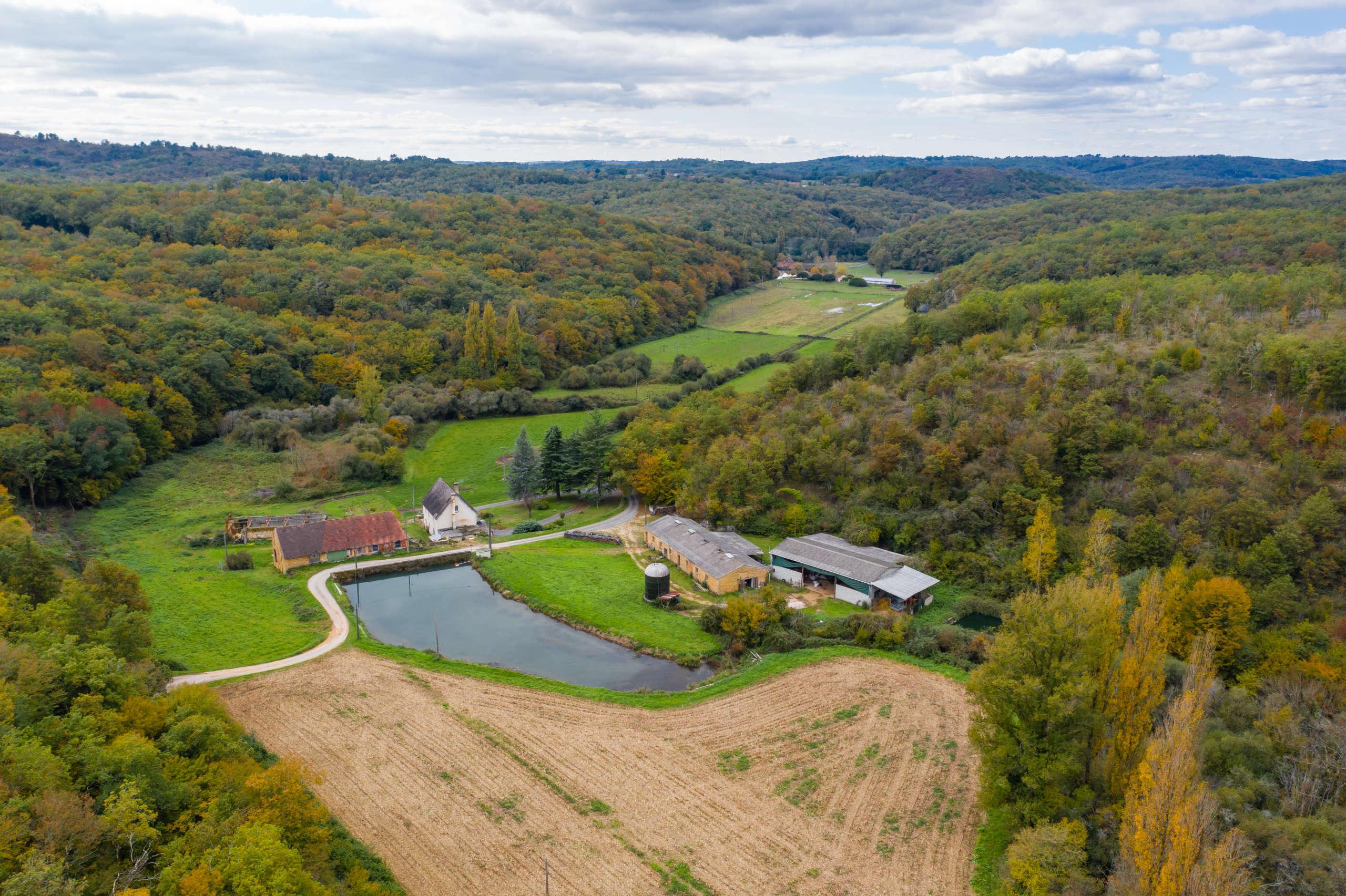 Vue aérienne sur la Dordogne