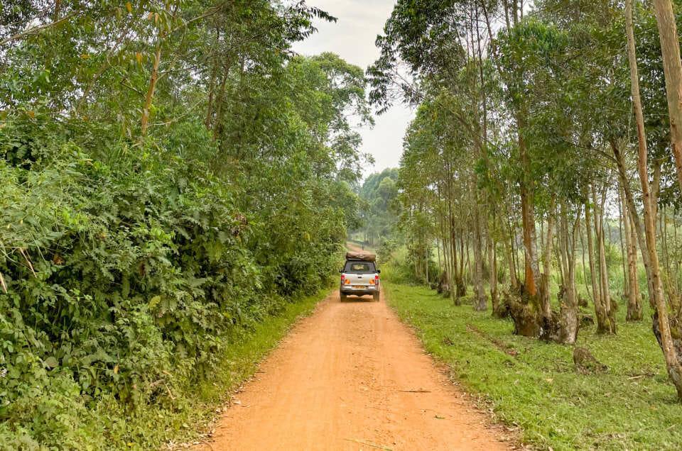 Voiture au milieu de la piste en Ouganda