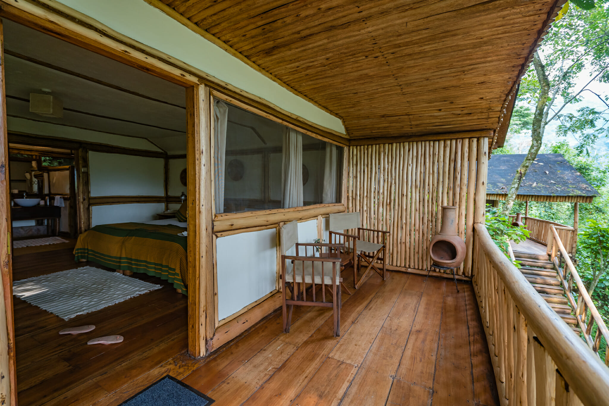 terrasse du buhoma lodge au coeur de la foret de bwindi