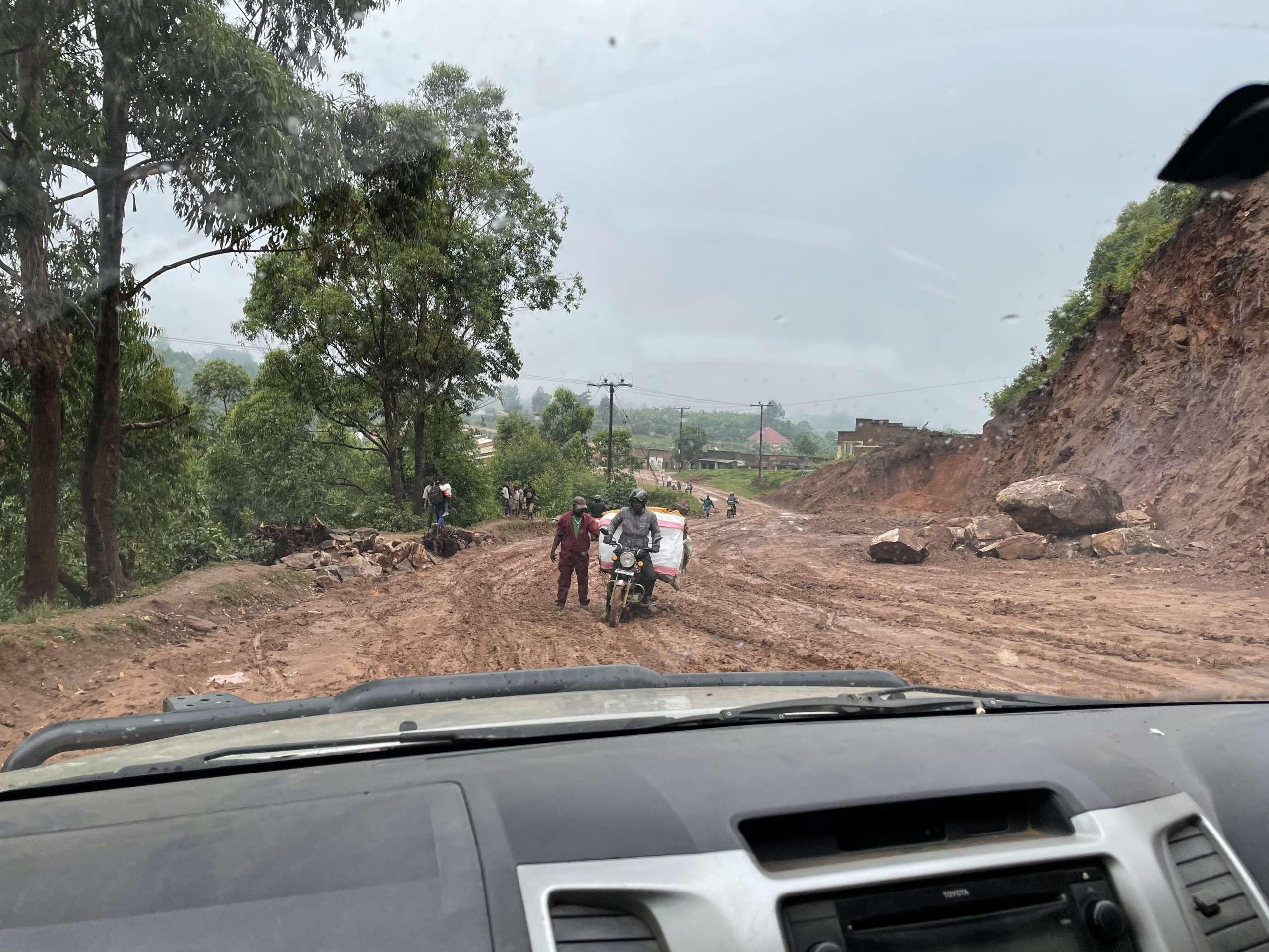 Piste de boue en Ouganda