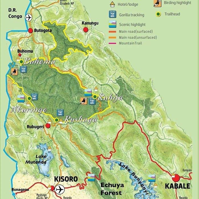 carte de la forêt de Bwindi en Ouganda