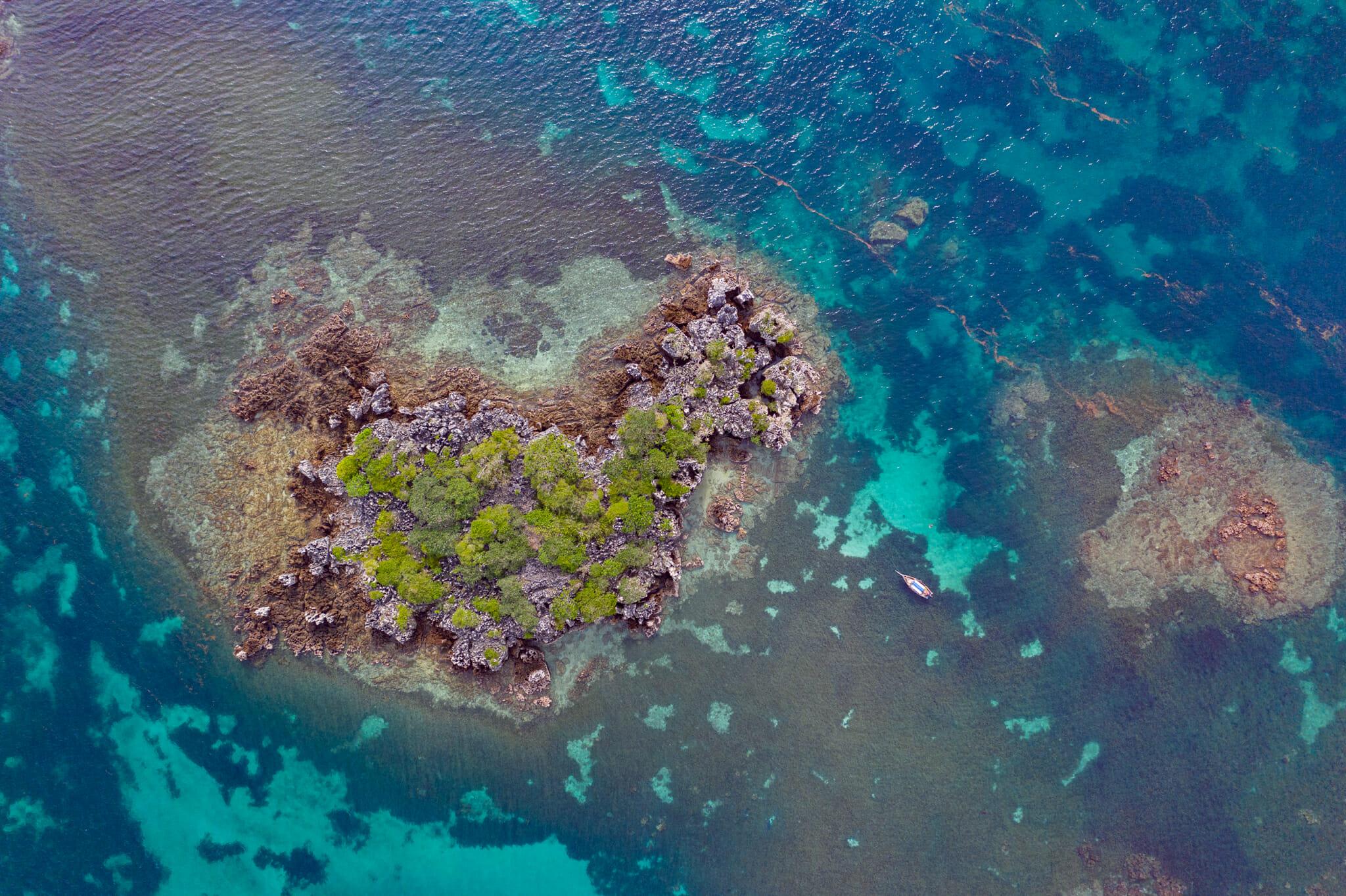 vue de drone sur le corail garden de mafia island